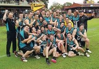 Canning Vale Cougars celebrate their win.