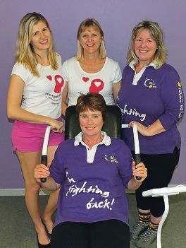 Curves for Cure Heathridge team members Brittany and Julie Young and Meg Considine, with Kim Skinner at the front.