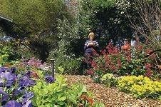 Julie Atkinson in her garden