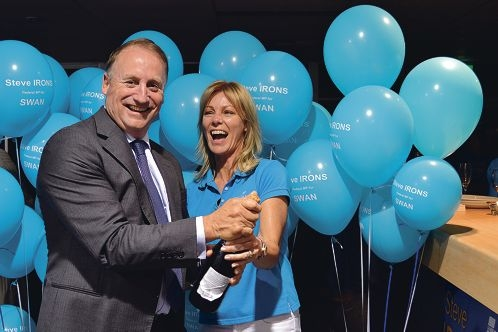 Steve Irons and his wife Cheryle celebrate his win in the seat of Swan. Picture: Sarah Motherwell