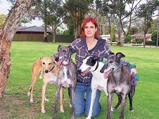 Greyhound Angels founder Melita Shonis with a group of dogs from her shelter.