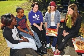 Opposition education spokeswoman Kate Ellis with Mimi Tewo, Anteneh Adugnd, Heather Clarke and Camaron Middleton. Picture: Bruce Hunt d424121
