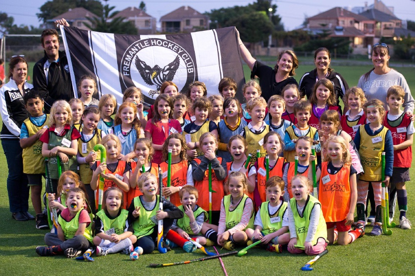 Fremantle Hockey Club's Hookin2Hockey kids. Picture: Marc Di Sabato