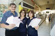 Owners Costa and Cathy Raftopoulos with staff member Armaity Irani at The Lucky Charm in Joondalup. d409142