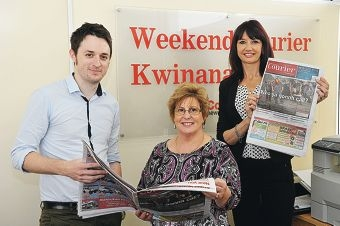 Courier editor John Dobson with Anne Moore, from the Lucy Saw Centre, and Courier sales manager Cindy Watts. Picture: Jon Hewson d408907