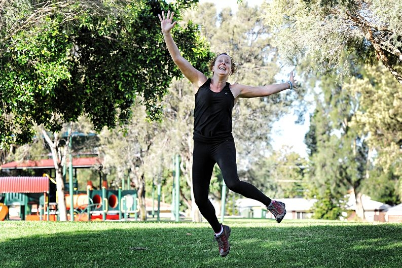Clare Lindsay-Smith plans to walk 100km to help Oxfam Australia. Picture: Marcus Whisson www.communitypix.com.au d408972