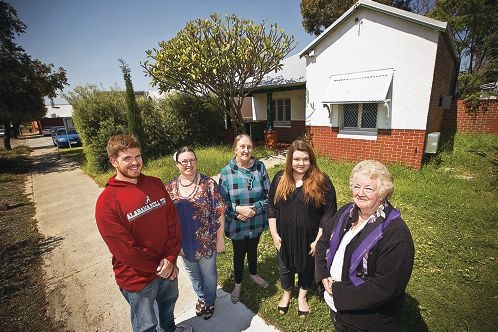VPYA support workers Bradley Varis, Kathy Grainger, Sarah Richards, Taylor Leather and manager Marilyn Crispin. Picture: Louise White www.communitypix.com.au d408942
