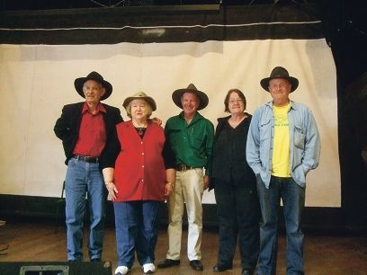 Bush poets John Hayes, Grace Williamson, Rob Gunn and Christine Boult with musician Michael Blake aka Outback Paddy.