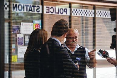 Shaken taxi driver Vangel Dhimitri talks to the media outside Warwick Police Station. Picture: Marcus Whisson www.communitypix.com.au d408860