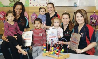 First Steps Early Learning qualified educator Tegan Cox-Martin with Tahlia and Marley,