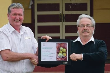 Member for Moore Shane Love recently presented Shire president Alex Douglas with a framed certificate from Lotterywest confirming its financial support.