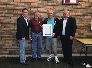 Past Whitford City Football Club presidents Bill Kniff and Dennis Booth with the current president, Pat Hulsman.
