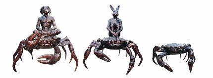 Dogman on Crab, Rabbit Girl on Crab and Small Crab.