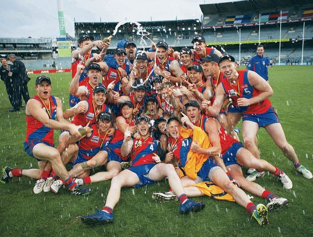 West Perth celebrate their premiership display of champagne football. Picture: danwhitephotos.com