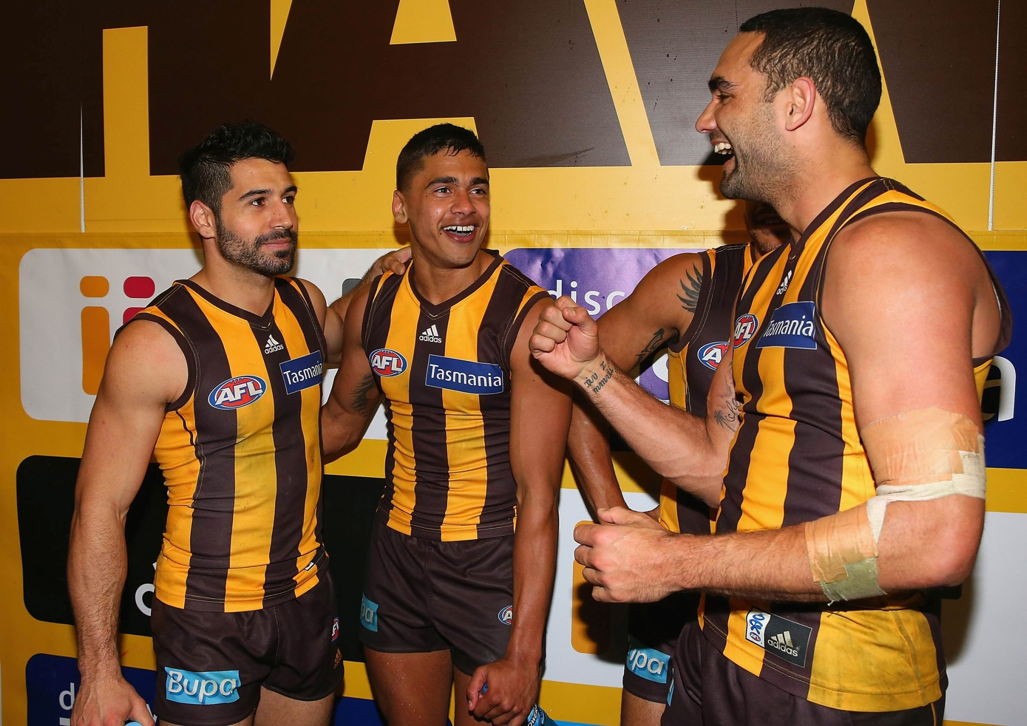 Bradley Hill with his Hawthorn team mates. Picture: Getty Images.