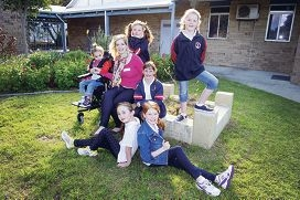 Denim for Disability Day supporters Asialee, Sinead Brunton from The Centre for Cerebral Palsy, Leah, Abby, Bridie and, at front, Paris and Alyssa. Picture: Emma Reeves www.communitypix.com.au d4072100