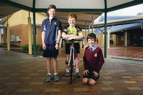 Northern Beaches Cycling Club youth development squad members Josh Lewis, Shawn Wright and Matthew Lewis. Picture: Emma Reevesd408161