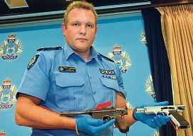 Inspector Rob Anderson with some of the guns seized in Operation Crackdown last week.