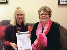 Family Skills manager Maxine Boyd and co-ordinator and trainer Maxine McEwin with the letter.