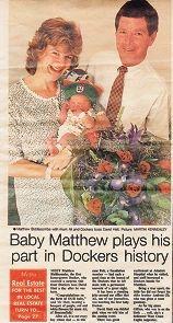 Fremantle Gazette ran an article in 1995 on Matthew Biddiscombe's timely birth.