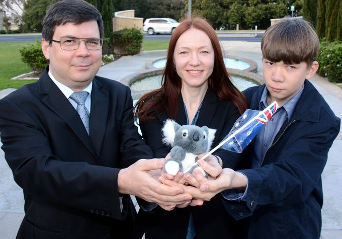 Andrey, Svatlana and Vladislav Matveev became Australian citizens at Mosman Park last week.