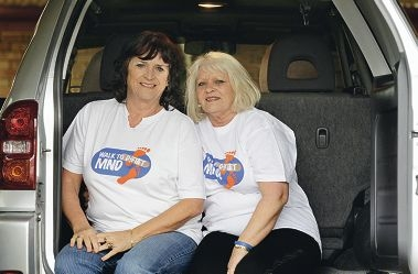 Hazel Sturrock and Cheryl Coates prepare for the inaugural MND Drive. Picture: Martin Kennealey d405565