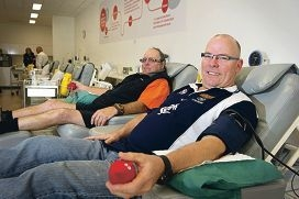 Geoff Burr (324th donation), Greg Griffiths (first donation) were the first two donors through the door on Friday.d407448