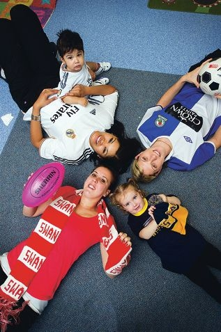 Clockwise from top left: Hamidah Menendez with son Enrique (20 months), staff member Jackie Nellany, Grace Jeffrey-Forward (2) and staff member Allicia Richards showed their true colours. Picture: Emma Reeves d407427