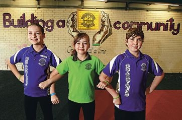 From left: Abbey Hobson, Hannah Dawson and Mitchell Humphreys. www.communitypix.com.au d407329
