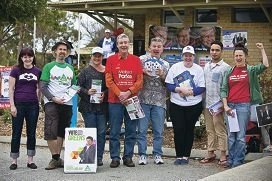 Stacey Hearn, Scott Ryan, Dimity Torpy, Chris Gibbons, Phil Scott, Asta Morton, Jade Gray and Janet Parker hand out leaflets on election day. Main picture: Louise White www.communitypix.com.au d407503