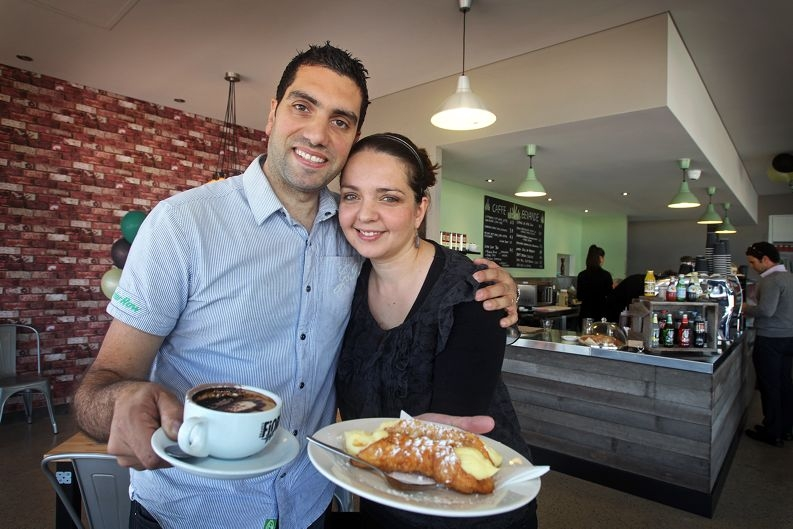 Mario and Jess Fisicchia of Cloverdale in their newly opened Sapore Espresso Bar. Picture: David Baylis www.communitypix.com.au d407162