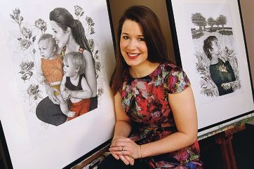 Edith Cowan University visual arts graduate Alyce Goddard and some of her work.