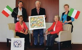 Watercolour Society of WA members Derrick Fitzpatrick, Lorraine Gardner, Fred Calginari, Ella Fagence and Susan Payne. Picture: Martin Kennealey d407462