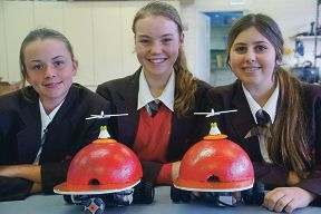 Robotics champions: Lauren Larranaga-Trivess, Laura Golding and Jasmin Anile from Sacred Heart College.