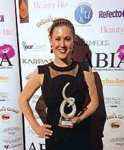 Rhiannon Mitsopoulos with her award for Beauty Therapist of the Year.