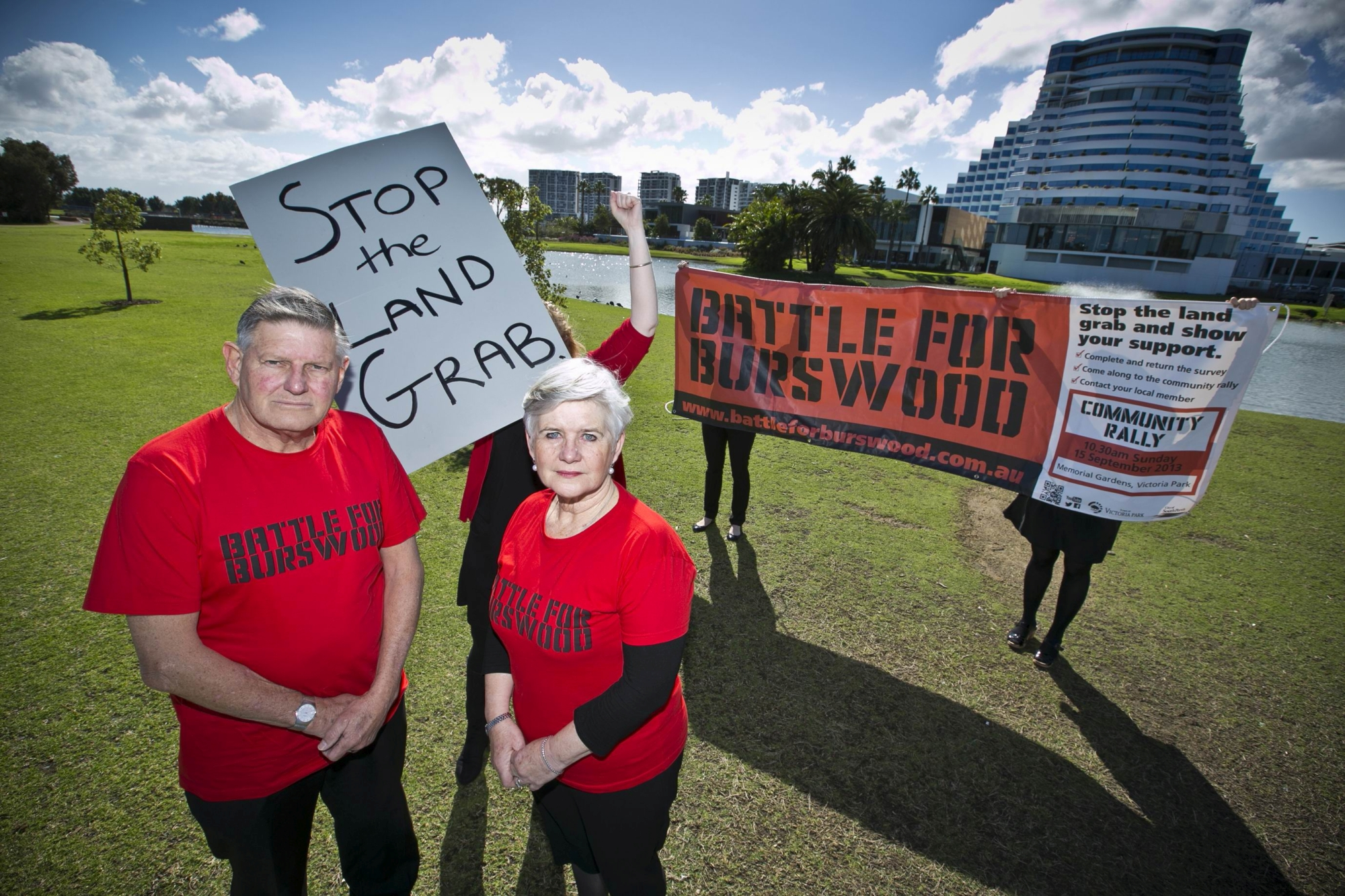 Victoria Park Mayor Trevor Vaughan and South Perth Mayor Sue Doherty head into battle. Picture: Louise White d407269