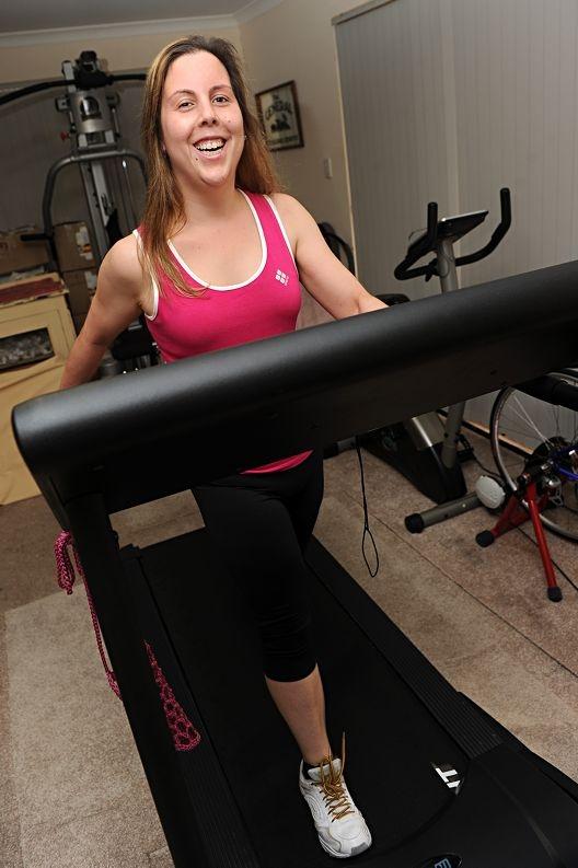 Run a Muck participant Alishia Anderson on her treadmill. Picture: Marcus Whisson www.communitypix.com.au d407094