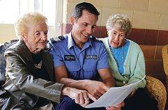 Joyce Sheppard, Sgt Paul Trimble (Peel Crime Prevention and Diversity Unit) and Maureen Fabri. Picture: Elle Borgward d407052