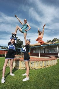 Gracie Hackett, Karly Merau and Georgia Cameron with Dayna Suckling at the back. Picture: Jon Hewson d406985