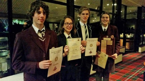 Thomas Gunda, Olivia Trahair, Nicholas Cokis, Chloe Dennis at the Rotary Four Way Test Public Speaking Competition.