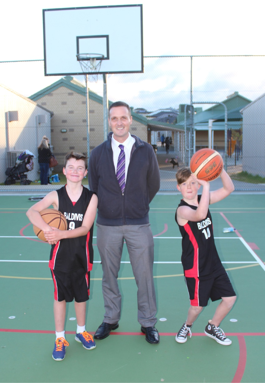 Baldivis Basketball Club players Harry Gidman and Alex Kingston with Cr Matt Whitfield after a recent training session.