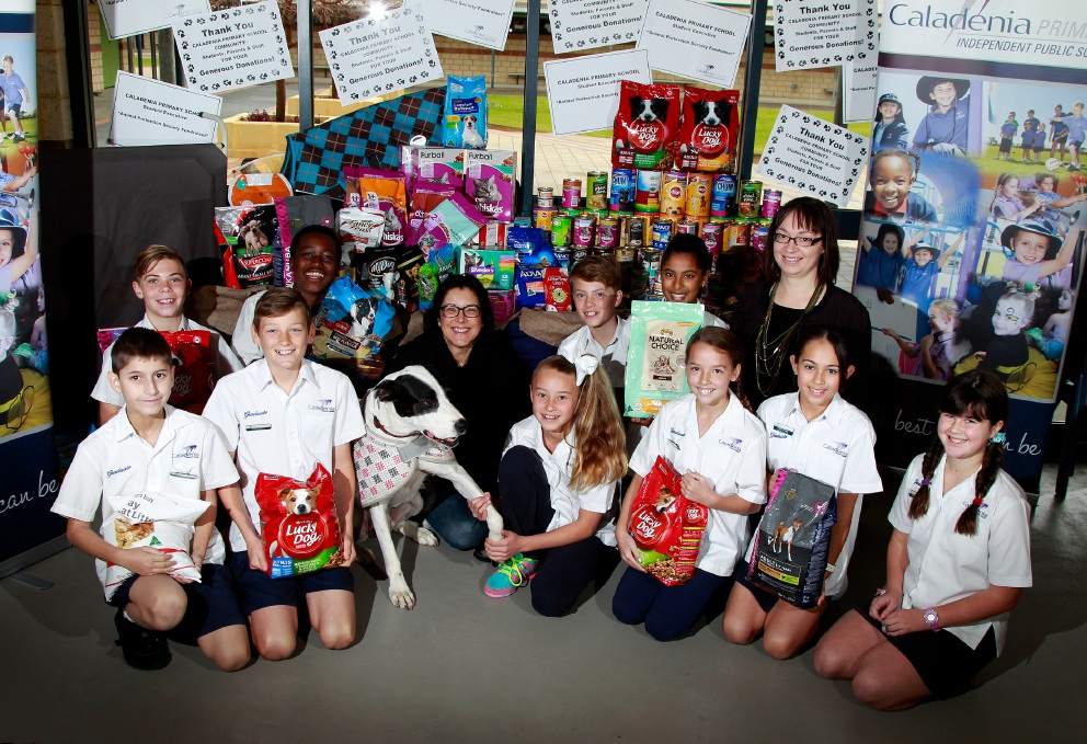 Melanie Jackson from the Animal Protection Society with their dog Dane (centre) received gifts collected by students at Caladenia Primary School, (l-r) back: Dylan Lyonnet (12), Shen Ngetich (12), Ryan Wilkinson (11), Disarnia Naidoo (11) and teacher Charlene Ashby. Front: Luke Veneris (12), Ethan Railton (11), Kiera Newbegin (11), Sophie Werder (11), Mieke Nicolai (11) and Vanessa Bailey (11). Picture: Marie Nirme