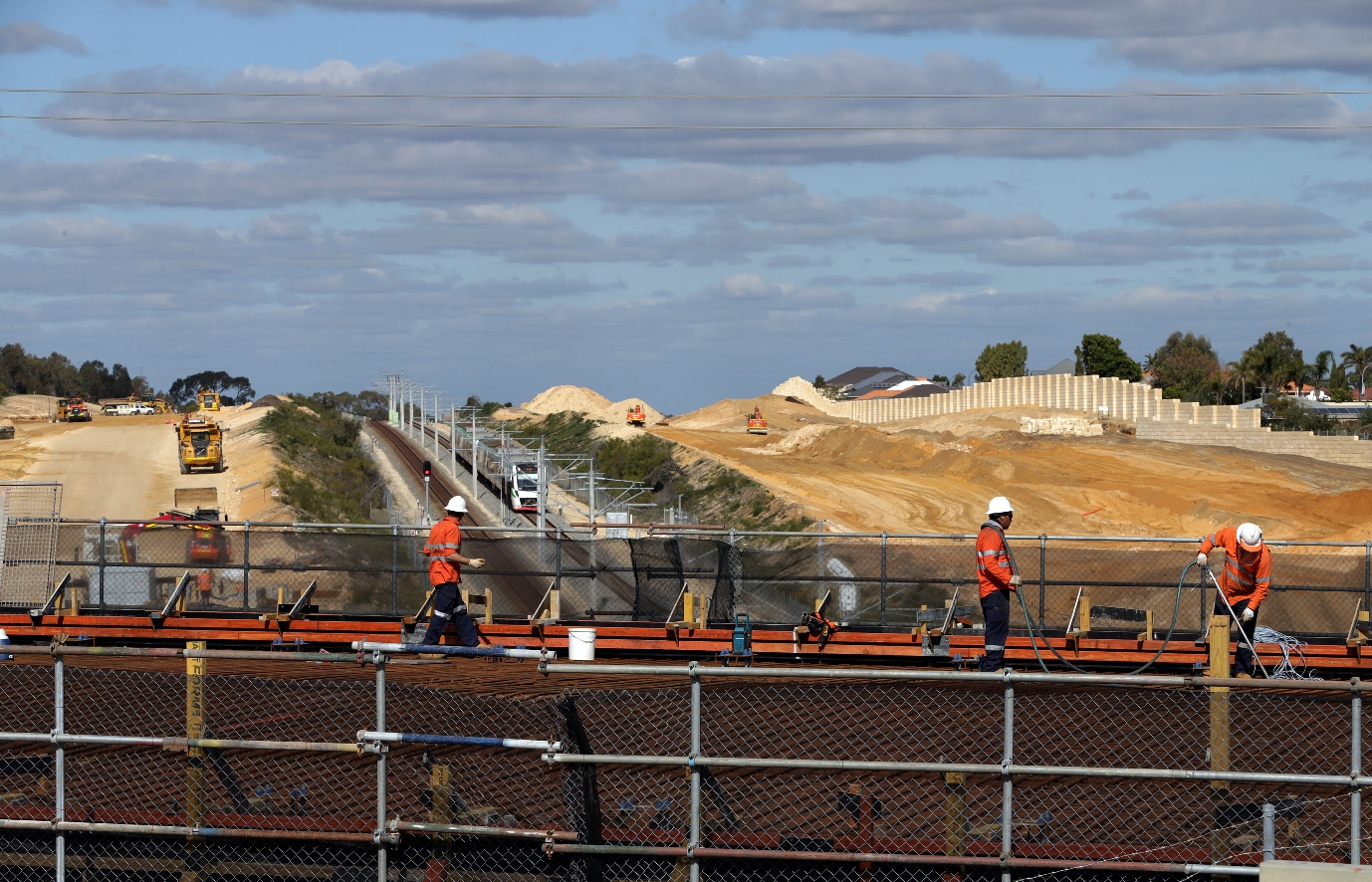 Recent Mitchell Freeway extension works include building a Hester Avenue road bridge. Picture: Martin Kennealey d457346
