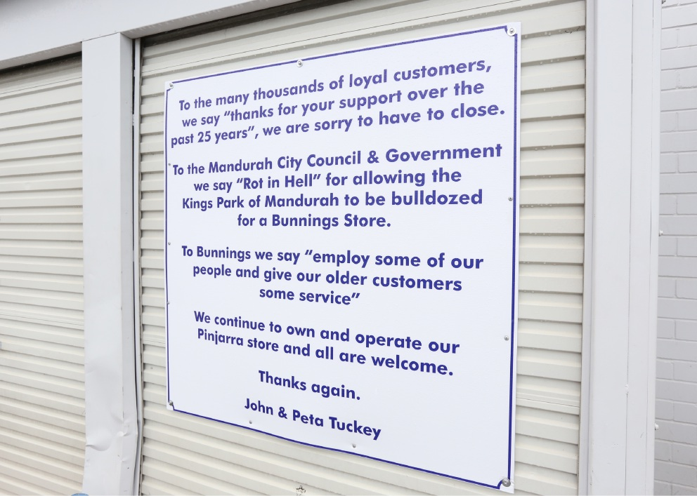 A sign outside Tuckey's Mitre 10 in Halls Head