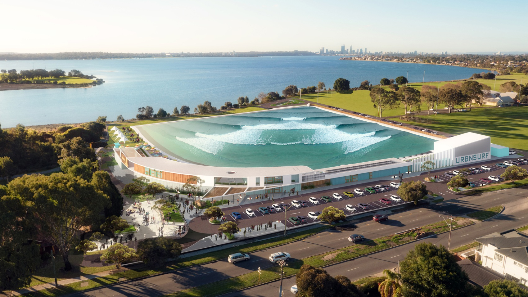 Concept designs of the proposed Alfred Cove wave park.