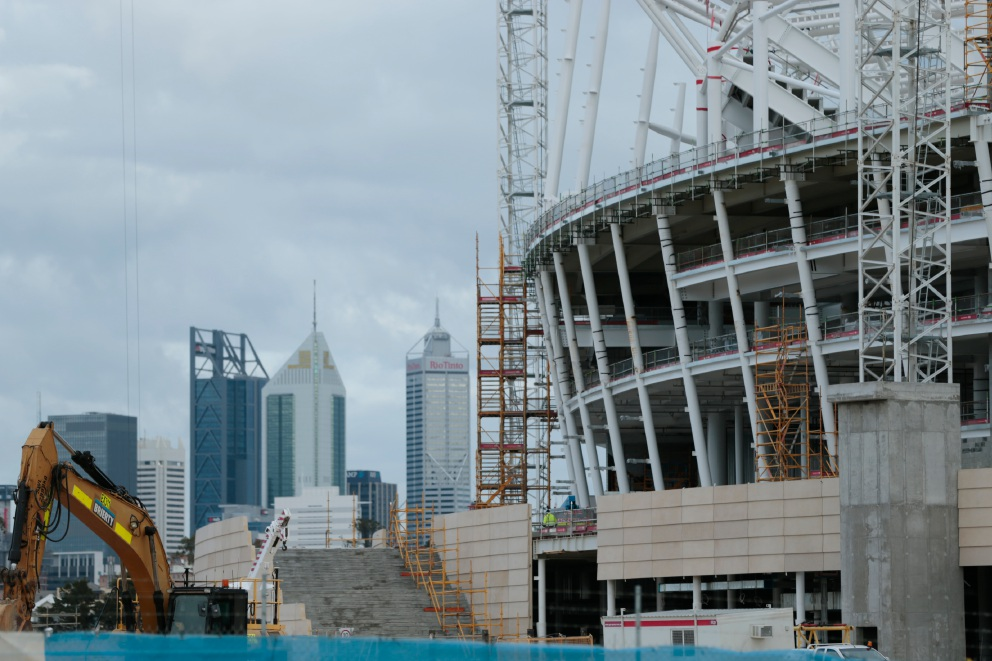 Perth Stadium under construction. Picture: Andrew Ritchie