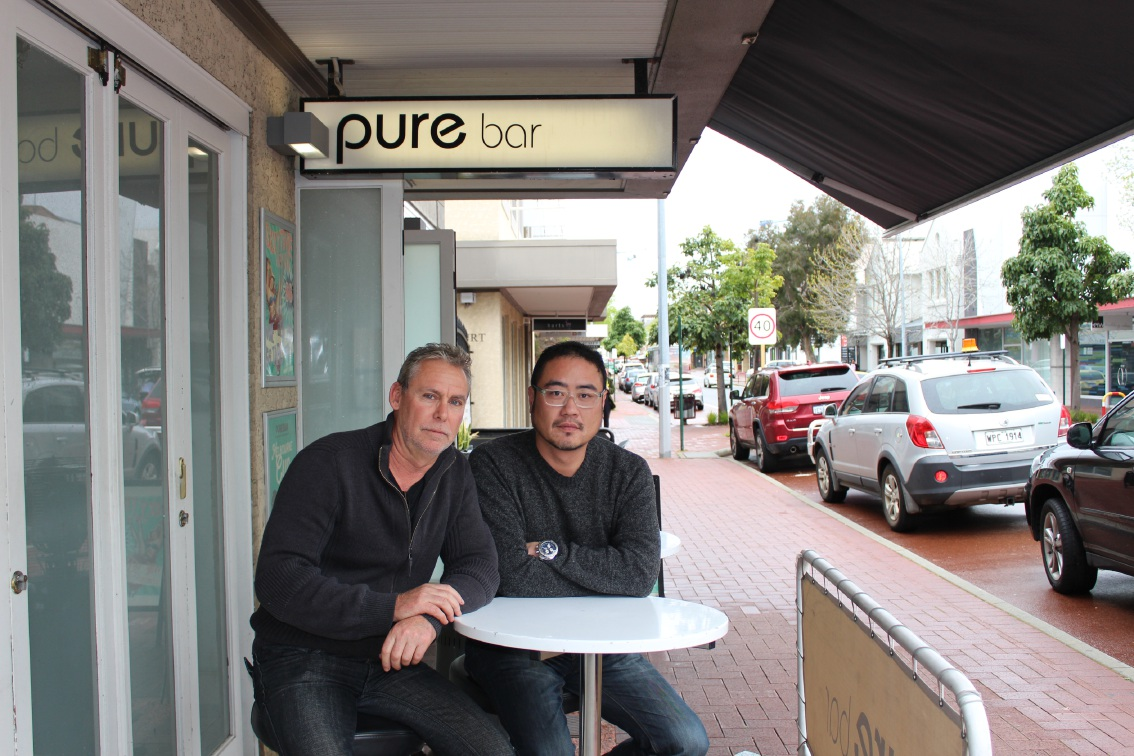 Michael Cutler and Eric Chu are concerned about the impact of roadworks.  Picture: Lisa Thomas