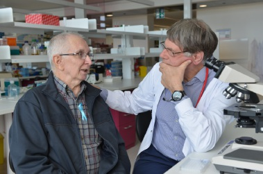 Barry Knowles pictured recently with lead researcher Professor Bruce Robinson.