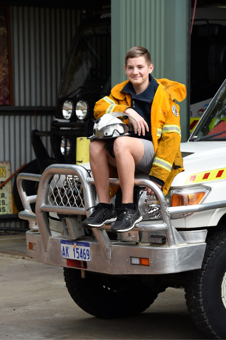 Bedfordale Volunteer fire brigade cadet Lachlan Bormolin at the brigade's headquarters last week.
