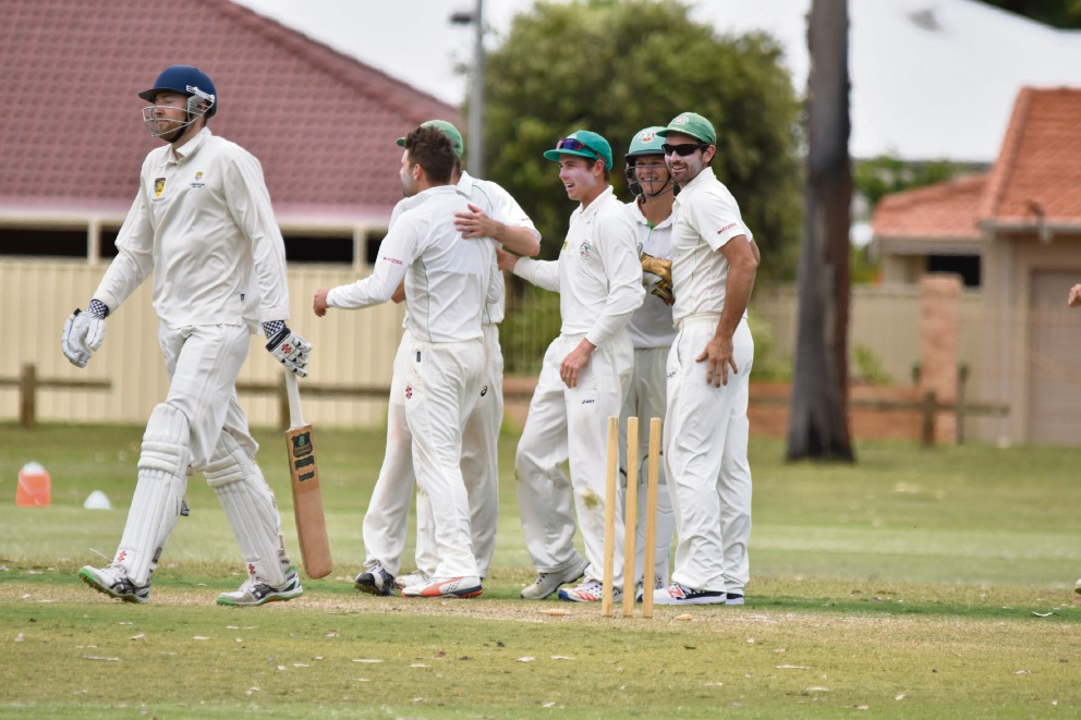 Bayswater Morley players celebrate getting a wicket.